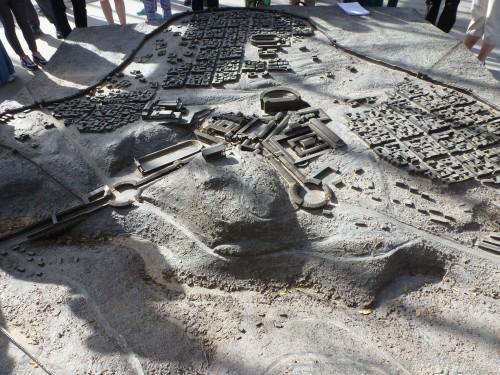 Modell von Bet Shean. Der Tell, um den herum die Stadt angelegt wurde, ist deutlich zu erkennen (Foto: Michael Hölscher)