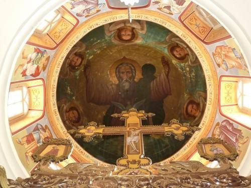 Rätselhaft: Hat hier Gott Vater einen Schatten, steht hinter ihm eine Gestalt im Dunkeln oder...?